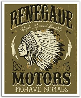 JP London POS2495 U-Strip Peel and Stick Vintage Mohave Indian Motor Cycle Removable Wall Decal Sticker Mural, 19.75