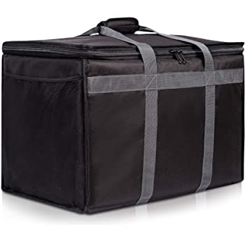 Insulated Commercial Food Delivery Bag with Side Pockets - Professional Food Warmer Portable Catering Hot Cold Meals - Thick Insulation Cooler for Grocery Shopping - 23 inches x 15 inches x 14 inches