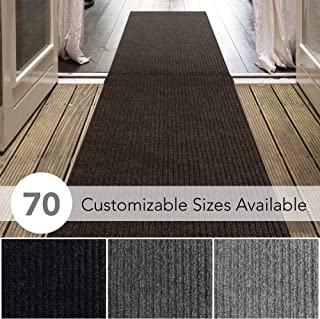 iCustomRug Spartan Weather Warrior Duty Indoor/Outdoor Utility Ribbed in 3ft,4ft,6ft Widths 70 Custom Sizes with Natural Non-Slip Rubber Backing 3' x 10' in Brown