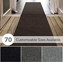 iCustomRug Spartan Weather Warrior Duty Indoor/Outdoor Utility Ribbed in 3ft,4ft,6ft Widths 70 Custom Sizes with Natural Non-Slip Rubber Backing 3' x 12' in Brown