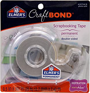 Elmer's E4004 CraftBond Double Sided Scrapbooking Tape, Permanent, 1/2-Inch by 300-Inch, Clear