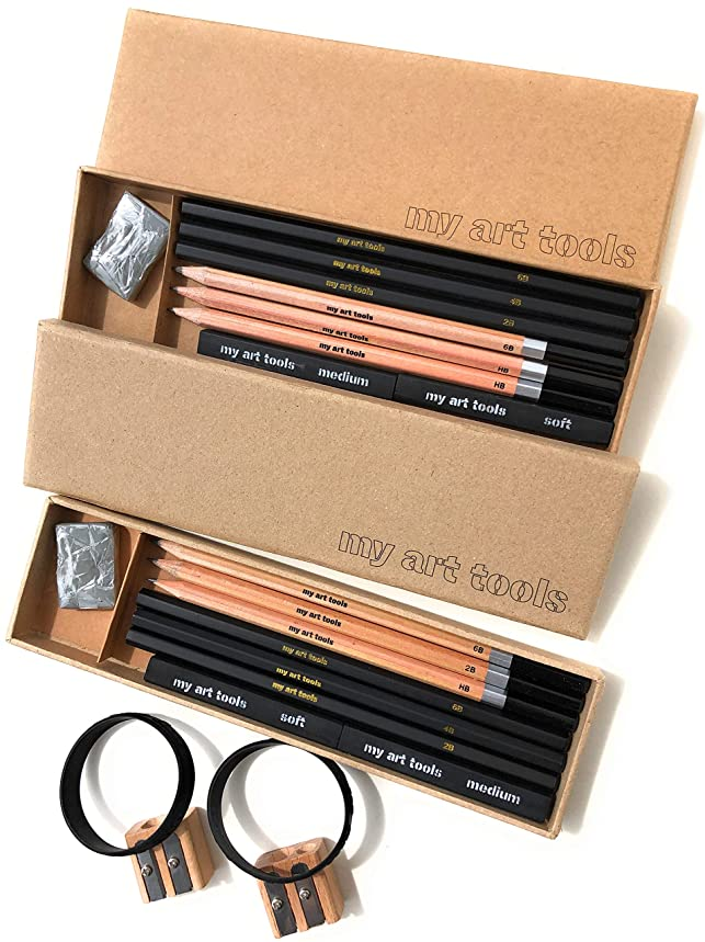 MY ART TOOL DRAWING KIT -Pencils for Professional Sketch Artists Include Charcoal & Graphite, supplies, Compressed Sticks,Sharpener, Kneaded Eraser in 2 Art Kits, 10 Pieces EACH set - non plastic box