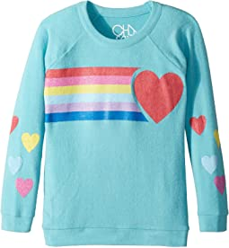 Chaser Kids - Super Soft Love Knit Raglan Rainbow Heart Pullover (Little Kids/Big Kids)
