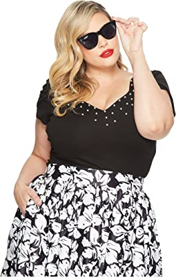 Unique Vintage - Plus Size Nora Short Sleeve Top w/ Pearls