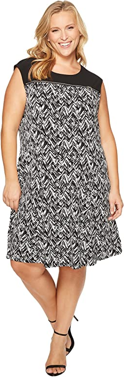 Plus Size Sleeveless Print Dress with Zipper Yoke