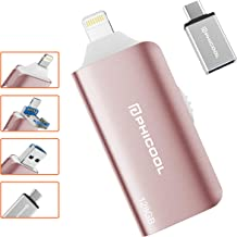 USB Flash Drive for Photo Stick 128GB USB 3.0 Flash Drive for iPhone Memory Stick Phicool Picture Stick for iPhone Backup Drive iPAD External Storage OTG Android Type C iPhone Jump Drive (Pink)