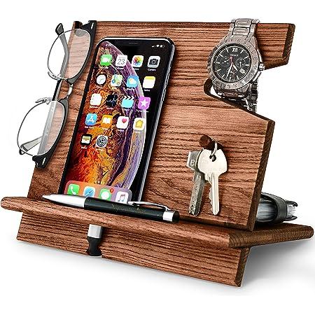 BarvA Wood Docking Station Cell Phone Smartwatch Holder Men Charging Accessory Nightstand Father Mobile Gadget Organizer Desktop Dresser Storage Valet Anniversary Birthday Graduation Gift
