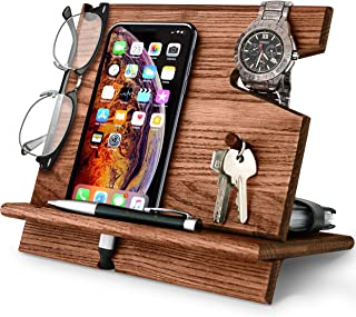 BarvA Wood Docking Station Cell Phone Smartwatch Holder Men Charging Accessory Nightstand Father Mobile Gadget Organizer D...