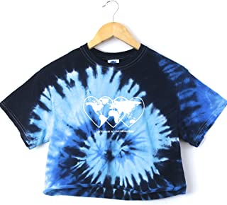 Love Revolution Ocean Tie-Dye Graphic Crop Top
