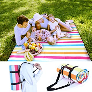Pumpkin Town Picnic Blanket Waterproof Extra Large with Handle and Shoulder Strap, Rainbow, Outdoor Blanket with Waterproof Backing for Family Concerts, Camping, Beach, Park 79