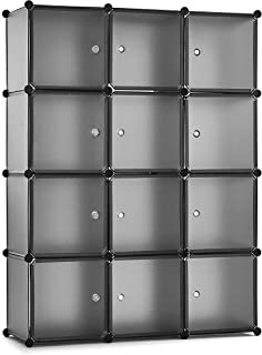 Meerveil Armoire Penderie Portable, Étagère de Rangement, à Monter soi-même, Garde-Robe, Accessoires, Jouets(12 Cubes,Gris)