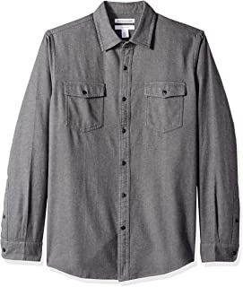 Men's Slim-Fit Long-Sleeve Solid Flannel Shirt