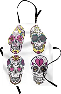 Ambesonne Skull Apron, Colorful Ornate Mexican Sugar Skull Set with Flower and Heart Pattern Calavera Humor, Unisex Kitchen Bib with Adjustable Neck for Cooking Gardening, Adult Size, White Pink