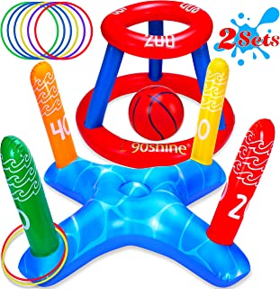 90shine Pool Toys Games Set - Floating Basketball Hoop&Inflatable Ring Toss for Kids Adults Family Swimming Water Sport Fu...
