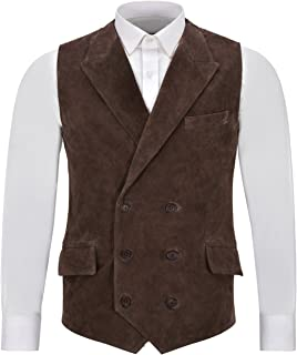 Men's Classic Italian Leather Waistcoat Brown Suede Double Breasted Jude Dapper Style 1642