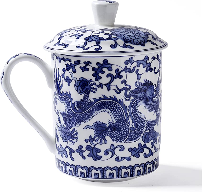 Ufengke White And Blue Bone China Porcelain Tea Cup With Lid Blue Dragon Painting Daddy Cups Gift Cups 500ml
