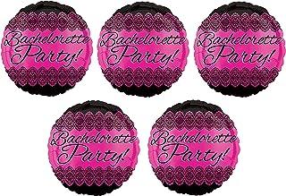 5 Classy Bachelorette Party Balloons Set | Pink with Black Foil Party Balloons for Bachelorette and Engagement Parties | B...