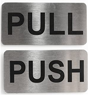 """Infinite Stainless Steel Push Pull Signage Board Combo, Silver (4""""X2"""")"""""""