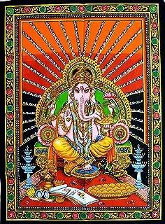 Muro Indiano Cotone Appeso Formato Poster Arazzo Lord Ganesha Etnica arredamento