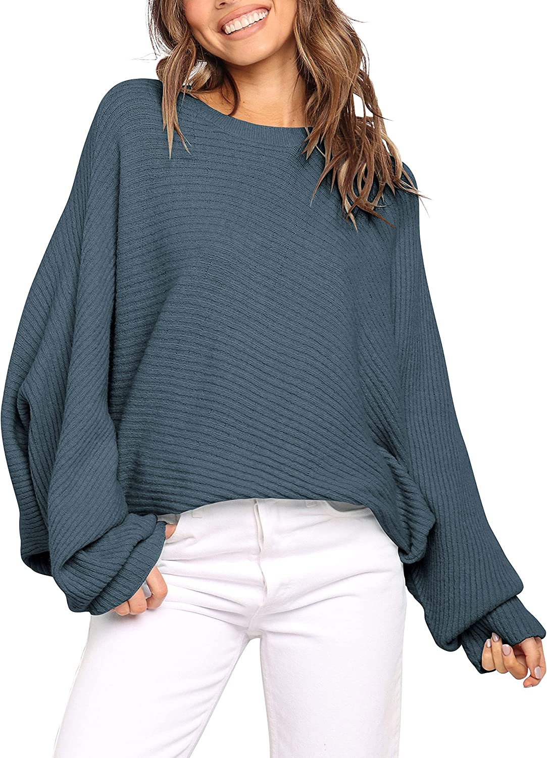 ANRABESS Women's Oversized Crewneck Sweater Batwing Puff Long Sleeve Cable Slouchy Pullover Jumper Tops