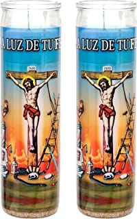 veladora Religious Prayer Candle in Glass Unscented ('Justo Juez', White (2 Pack))