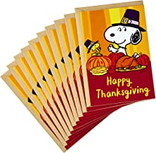 Hallmark Pack of Peanuts Thanksgiving Cards, Snoopy and Woodstock (10 Cards with Envelopes)