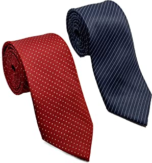 Luxeis Men Premium Neck Tie Combo (Navy Blue Stripe, Gray; Free Size) (Pack of 2)