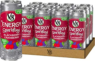 V8 +Energy, Sparkling Juice Drink with Green Tea, Blackberry Cranberry, 12 Fl Oz (Pack of 12)