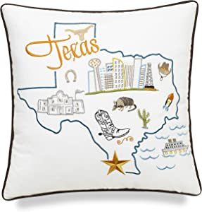 EURASIA DECOR Texas State Map 18x18 Embroidered Decorative Accent Pillow Cover - Birthday Decor, Graduation, New Home Gift