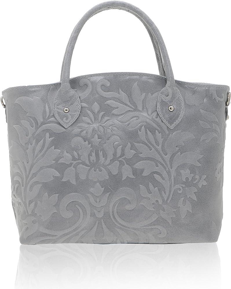 Chicca borse handbag,  borsa a mano da donna,  in vera pelle, made in italy DDD80070-GRIGIO