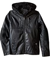 Urban Republic Kids - Faux Leather Jacket w/ Hoodie (Big Kids)