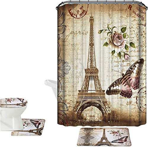 Amagical Brown Paris Eiffel Tower 16 Piece Bathroom Mat Set Shower Curtain Non Slip Bath