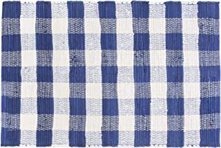 GLAMBURG Cotton Buffalo Check Plaid Rugs Washable, Checkered Rug Welcome Door Mat 22x34 Rug for Kitchen Carpet Bathroom Outdoor Porch Laundry Living Room, Farmhouse Reversible Rag Rug Blue White