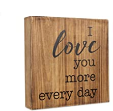 "Young's 10"" x 2"" x 10"" Inc Wood I Love You More Sign"