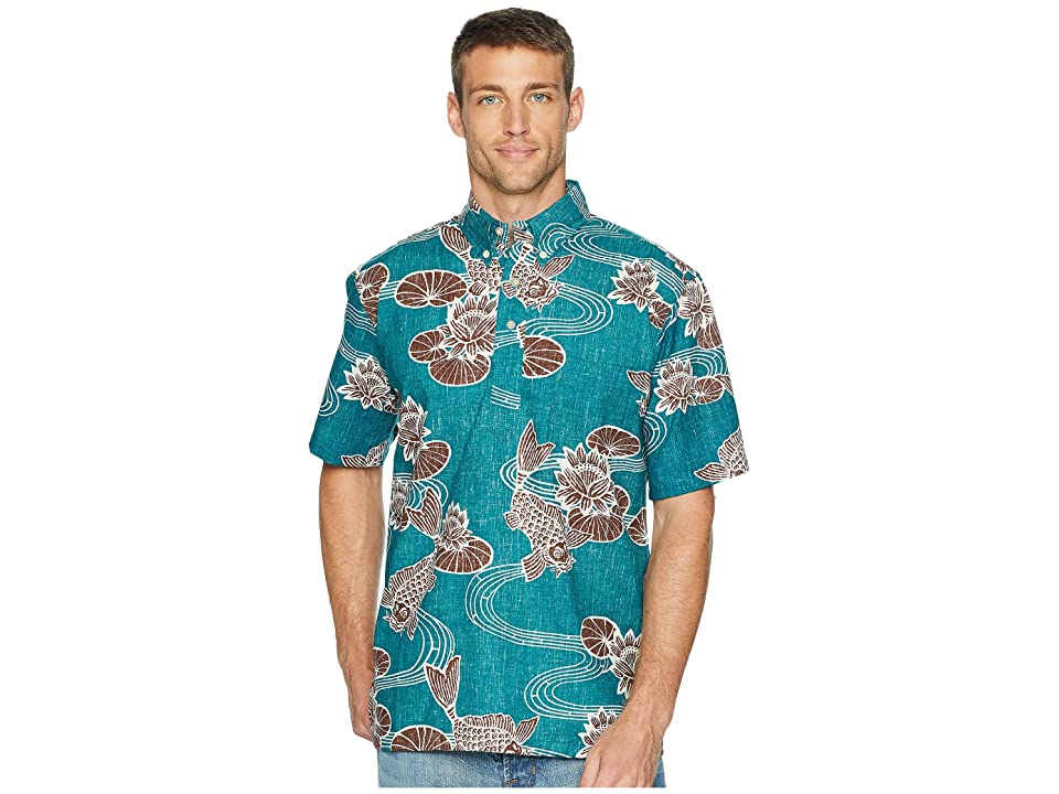 Reyn Spooner Kyoto Ponds Pop Over Aloha Shirt (Teal) Men