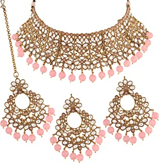 I Jewels 18k Gold Plated Indian Bollywood Wedding Faux Beads Choker Jewelry Set with Maang Tikka for Women