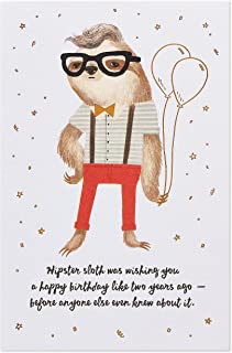 American Greetings Funny Birthday Card (Hipster Sloth)