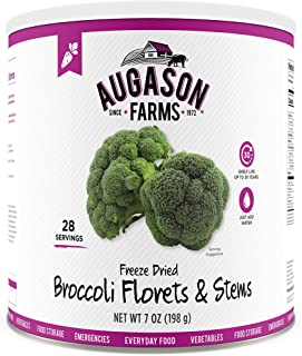 Augason Farms Freeze Dried Broccoli Florets & Stems 7 oz No. 10 Can