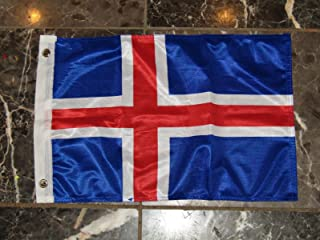 ALBATROS 12 inch x 18 inch Iceland Rough Tex Knitted Flag Banner Grommets for Home and Parades, Official Party, All Weather Indoors Outdoors