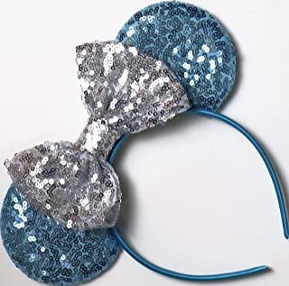 CLGIFT Frozen Inspired Minnie Mouse Ears, Elsa Ears, Elsa Minnie Ears, Blue Minnie Ears (Blue/Silver)
