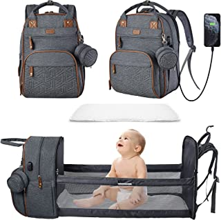Diaper Bag Backpack for Baby Diaper Bag with Changing Station Portable Diaper Backpack Large Capacity Travel Foldable Baby...