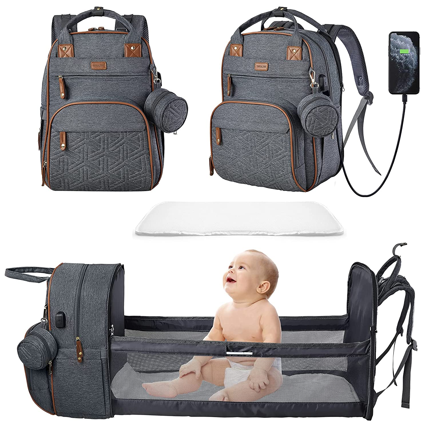 Diaper Bag Backpack for Baby Diaper Bag with Changing Station Portable Diaper Backpack Large Capacity Travel Foldable Baby Bed with USB Charge for Dad Mom Gift Grey
