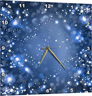 3dRose White and Bright Blue Sparkle Bokeh with Stars - Wall Clock, 10 by 10-Inch (DPP_222290_1)