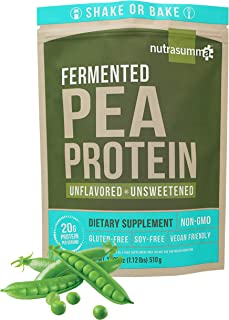 Nutrasumma Plant Based Fermented Pea Protein Powder, Unflavored and Unsweetened, 1.12lb - North American Sourced Peas - No...