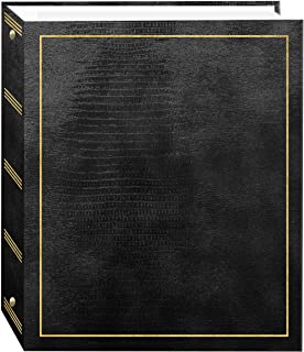 Pioneer Photo Albums 100 Page Leatherette with Gold Stamped Cover 3-Ring Magnetic Album, Black