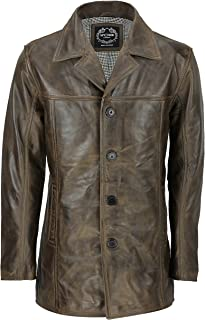 Xposed Mens Retro Style Real Leather Reefer Jacket Mid Length Coat in Antiqued Brown