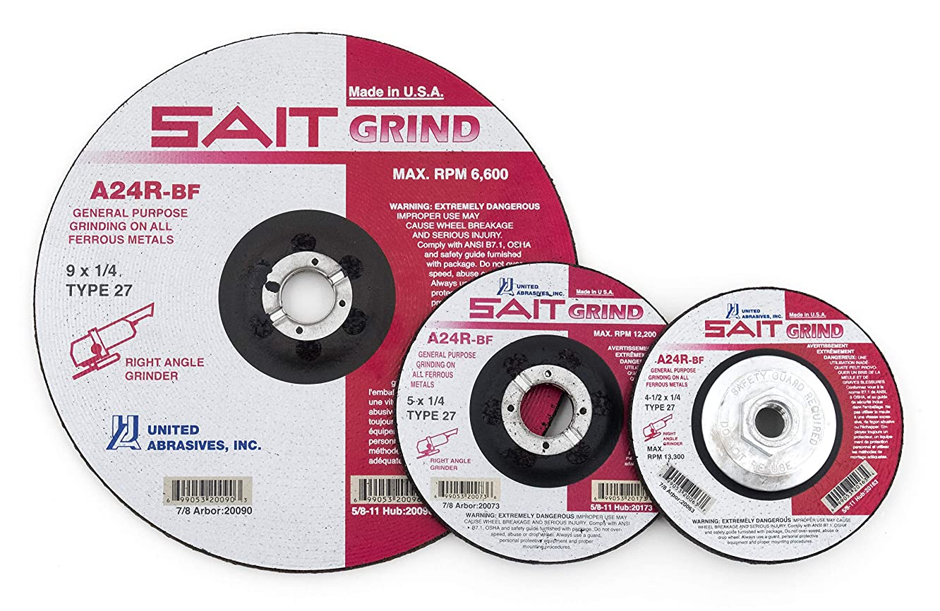 United Abrasives-SAIT 20079 Type 27 6-Inch x 1/4-Inch x 7/8-Inch Grade A24R Long Life Depressed Center Grinding Wheels, 25-Pack