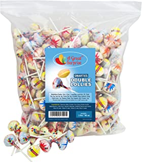 Smarties Lollipops - Smarties Double Lollies, Bulk Individually Wrapped 3LB Party Bag Family Size