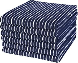 Life By Cotton 6Pk Brookyn Stripe Dish Towels, Kitchen Towels 18x28 Navy