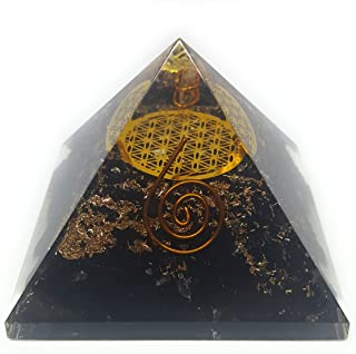 GEMSTORE369 Orgone Black Tourmaline Pyramid with The Flower of Life Symbol | Orgonite Energy Generator with Crystal Point & Reiki Energy | Protects and Heals on All Spiritual and Physical Levels